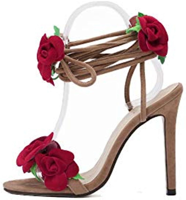 Sandali Scarpe Alto Da Con Vn0m8nw Tacco Donna Pizzo Fiore myN0Ownv8