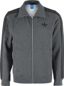 adidas, Maglione Uomo Beckenbauer Track, Grigio (dark grey heather / black), L Grigio (dark grey heather / black)