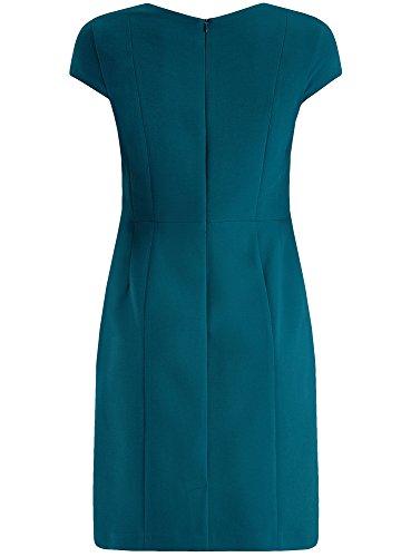 oodji Collection Femme Robe Étui à Encolure Carrée en Tissu Épais Bleu (7400N)