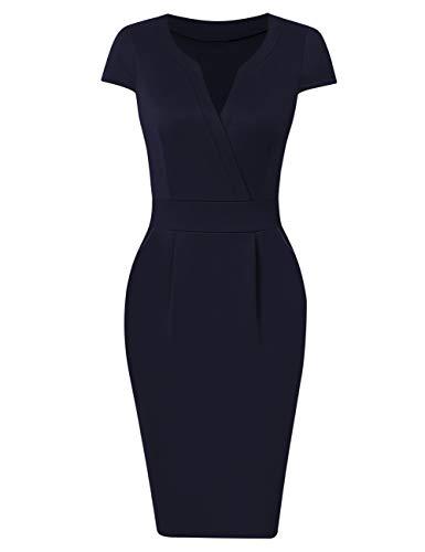 KOJOOIN Damen Elegant Etuikleider Knielang Kurzarm Business Kleider Blau Dunkelblau XL (Blau Schwarz Frauen Und Kleid)