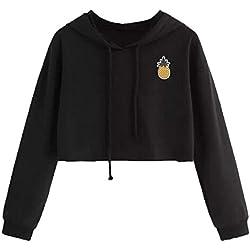 Phelion Sudadera con capucha con capucha y capucha de manga larga con estampado de piña y estampado de piña para mujer (Color : Negro, tamaño : US-XL)