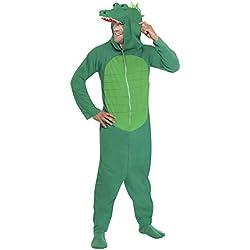 """Smiffy's Smiffys-23631L cocodrilo, Todo es un Solo Disfraz con Capucha, Color Verde, L - Tamaño 42""""-44"""" 23631L"""
