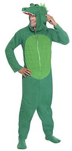 Smiffys, Unisex Krokodil Kostüm, All-in-One mit Kapuze, Größe: L, 23631
