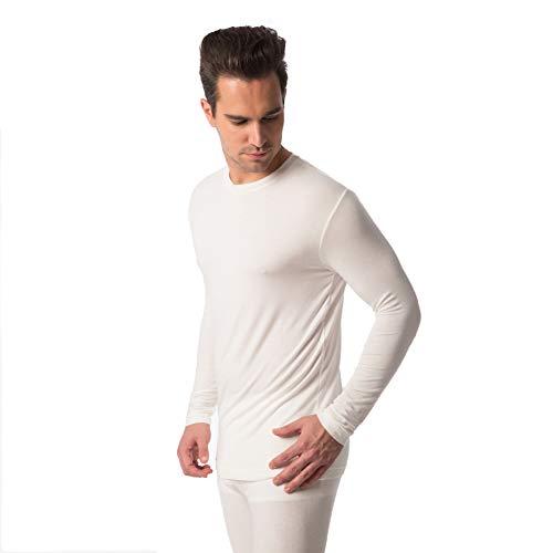 f3aa6e76ccd JASMINE SILK Modal Thermal T-Shirt à Manches Longues pour Homme Ivoire -  Ecru -