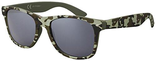 Original La Optica Verspiegelte UV400 Unisex Sonnenbrille Wayfarer Art - Farben, Einzel-/Doppelpacks (Einzelpack Rubber Camouflage I (Gläser: Grau))