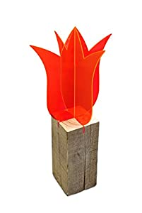 Lichtzauber 3D-Tulpe, 30 cm, stehend, rot mit Sockel
