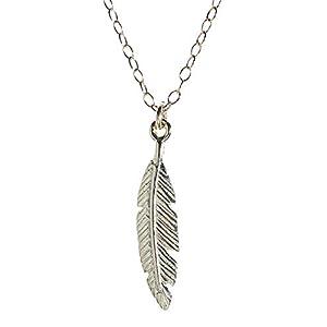 Sterling Silber Feder Anhänger Halskette Delicate Romantic