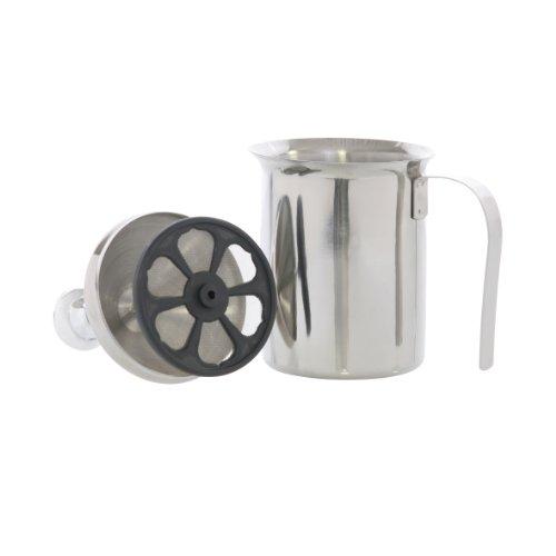 Milchaufschäumer aus Edelstahl zur manuellen Bedienung, 0,5 Liter Fassungsvermögen, geeignet für die Spülmaschine, transportabel, leicht und doch stabil, ideal für Camping, Reisen und Urlaub thumbnail