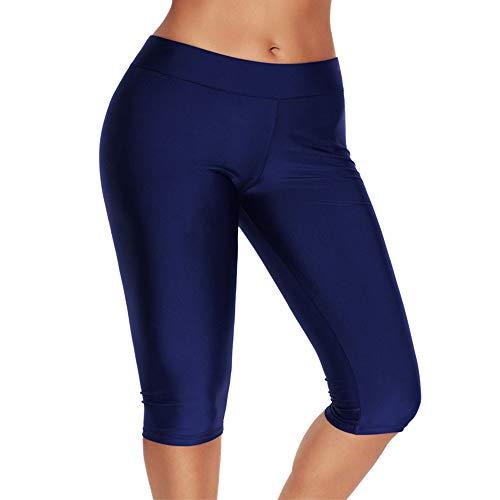Calflint Damen Badehose mit mittlerer Taille und Rashguard-Hose - blau - US M = Etikett L -
