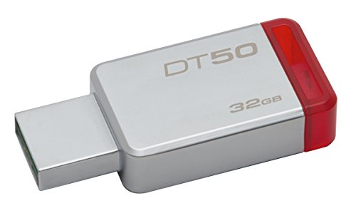 Kingston DataTraveler DT50/32GB - Memoria USB 3.0 DE 32 GB, Tipo Llave, Color Plata y Rojo