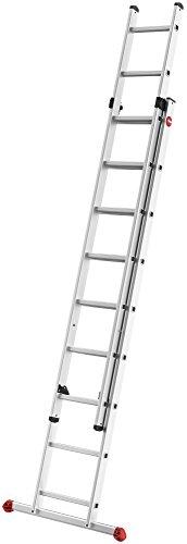 Preisvergleich Produktbild Hailo ProfiStep duo, 2-teilige Alu-Schiebeleiter, 2x9 Sprossen, Leiternteile einzeln verwendbar, belastbar bis 150 kg, made in Germany, 7209-007