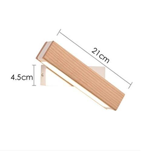 Jsmhh Nordic einfache massivholz Wandleuchte drehbare nachtwandleuchte led Schlafzimmer Studie nachtlicht warm Gang Veranda Wandleuchte (Size : Wood)