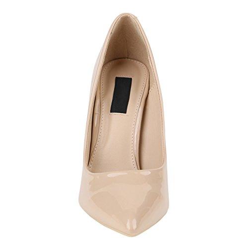 Elegante Damen High Heels Spitze Pumps Lack Metallic Schuhe Stiletto Samt Glitzer Nieten Abendschuhe Business Schuhe Flandell Creme Lack