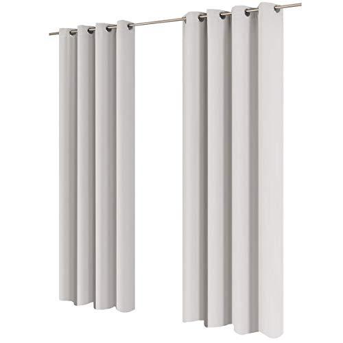 Gräfenstayn® tenda oscurante midnight 100% opaco con occhielli 140x245cm - molti colori - tenda oscuramento tenda opaca scialle per finestre decorativa tenda termica (bianco)