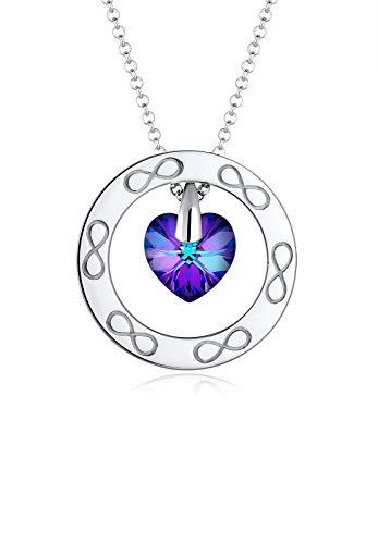 Elli Premium Damen-Kette mit Anhänger Herz Infinity 925 Silber rhodiniert Swarovski Kristalle lila Facettenschliff 60 cm 0101622417_60