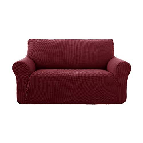Deconovo copridivano 2 posti elasicizzato antiscivolo fodera protettiva per divano vino