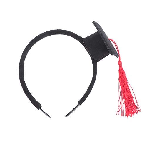 Amosfun Doktorhut Haarreif Haarband Akademikerhut Stirnband Mini Hut mit Haarreif für Abschlussfeier Abschluss Party Kostüm Zubehör (Filigranes Stirnband)