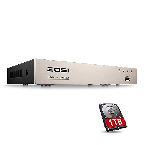 ZOSI CCTV 8CH 1080N 720P HD 4-in-1 TVI/AHD/CVI/Analog DVR Überwachungsrecorder Netzwerk Digital Video Recorder H.264 Aufzeichnungsgerät mit 1TB Festplatte, HDMI VGA Ausgang