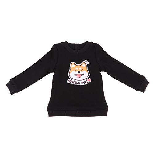 Unbekannt Entzückendes Cartoonhundemusterpullover Spitzent Shirt Für 1/4 Msd Bjd - Schwarz, #1 (Dress Up Doll Für Jungen)