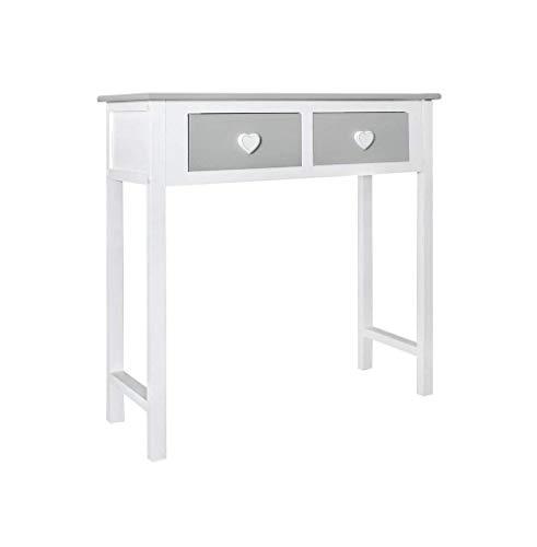 Rebecca mobili consolle bianca grigia, tavolo scrivania da cameretta, legno, stile shabby, per salotto camera - misure: 80 x 80 x 30 cm (hxlxp) - re4193