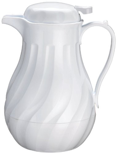 Winco Push Button Insulated Beverage Server with Swirl Design, 20-Ounce, White by Winco - Push-button-server