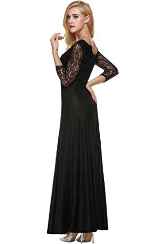 CRAVOG Damen Abendkleider mit Spitzen Bodycon festliche Kleider Cocktail Maxikleid Schwarz