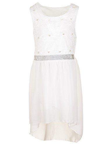 Fashionteam24 Festliches Mädchen Sommer Kleid Perlen Hochzeit Blumenmädchen Kommunion Freizeit M432ws Weiß 18/170