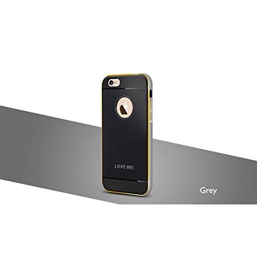 Love Mei Schutzhülle für iPhone 6(11,9cm), Hybrid Aluminium Rahmen Bumper Gummi-Haut, Schutzhülle grau