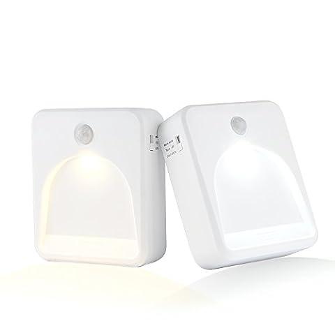 Coidak CO823 LED Nachtlicht mit Bewegungssensor und Helligkeitssensor, Farbtemperatur wählbar (kalt / warm), Timer einstellbar, spurlose Installation, batteriebetrieben und tragbar,Kaltweiß und Warmweiß mit dem Schalter,Starkes Signal, Große Reichweite der Bewegungsmelder (2er Pack)