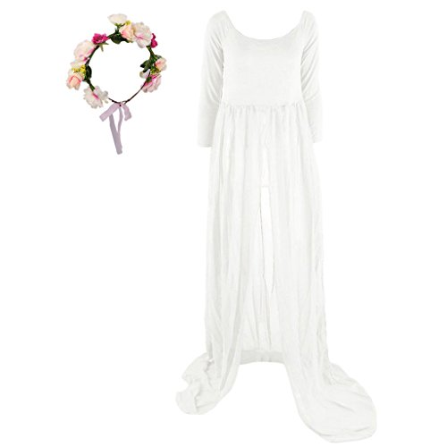 Baoblaze Sexy Schwanger Fotoshooting Lange Maxi Kleid Mutterschaft Kleid Fotografie Requisiten Chiffon Umstandskleid mit Blumen Haarschmuck - Weiß + rot, one ()
