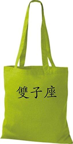 Borsa In Stoffa Tinta Unita Borsa Cinese In Twins Con Caratteri Cinesi, Colore Verde Lime Assortito