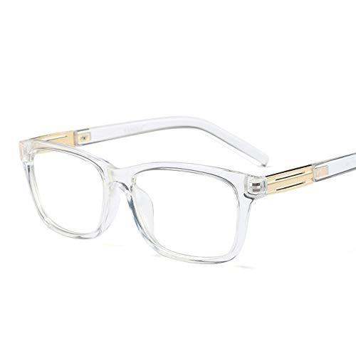 Easy Go Shopping Stilvolle quadratische Brillenbrille Unisex klare LinseMänner und Frauen Sonnenbrillen und Flacher Spiegel (Farbe : Transparent White)