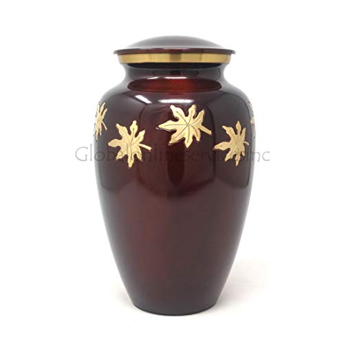 Cremationurnsashes Urne für Asche, fallende Blätter, mittelgroß -