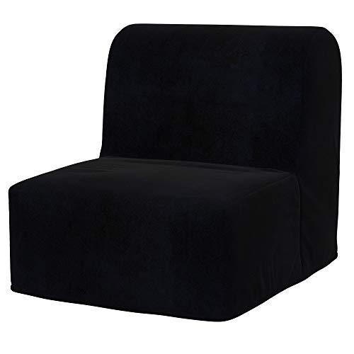 Soferia - Copertura di Ricambio per Divano Letto Ikea LYCKSELE a 2 posti Eco Leather Black