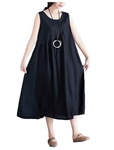 Mallimoda donna estivi vestiti lunghi vestito elegante senza maniche abito abiti nero xxl