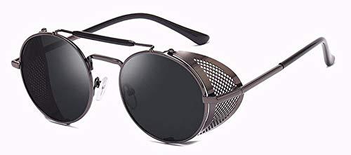 WSKPE Sonnenbrille Metall Runde Sonnenbrille Männer Frauen Seitlichen Mesh Style Brille Sonnenbrille Uv400 Graue Rahmen Streuscheibe Schwarz