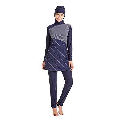 Meijunter Bescheidene Muslimische Badebekleidung - UPF 50+ Bademode Set Langarm Hijab Volle Abdeckung Surfanzug Elastische Burkini Dry Schnell Beachwear Spleißen Badeanzug