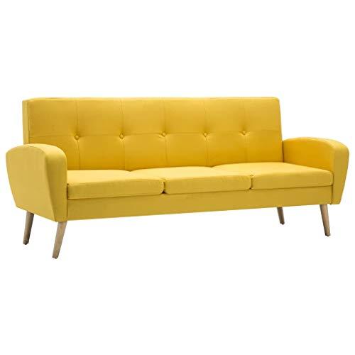 Tidyard Sofá de 3 plazas de Tela Color Amarillo 186 x 71...