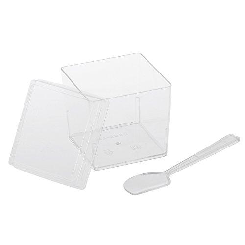 BESTONZON 20 Sätze Dessertbecher mit Deckel und Löffel Dessertschale Eisbecher Plastik Fingerfood Schalen Becher für Weihnachten Party 120 ML (Transparent)