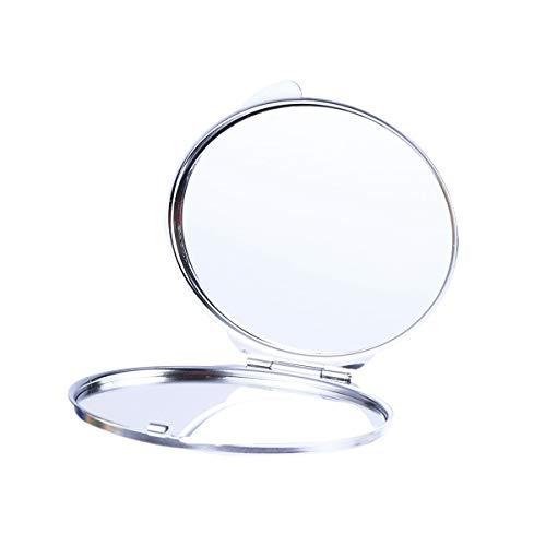 Lurrose Doppelseitiger Schminkspiegel Oval Faltbarer Kosmetikspiegel Kleiner Edelstahl