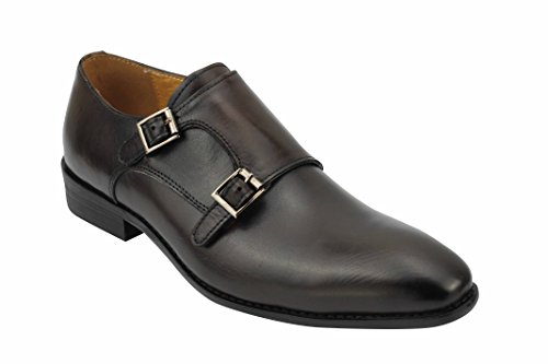 Xposed new da uomo in vera pelle nero marrone lucido classic monk strap vintage scarpe eleganti, marrone (brown), 45 eu