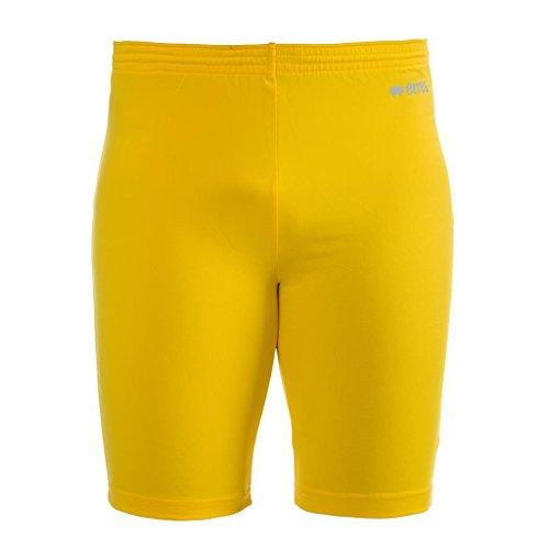 ORFEO AD Funktionshose (knielang) von Erreà · ERWACHSENE Damen Herren Sport Unterziehhose (kurz) aus Polyester · BASIC Slim-Fit Hose (elastisch) für Teamsport · BASELAYER Kompressionshose (endotherm) geringe Kompression · (Farbe gelb, Größe L/XL) -