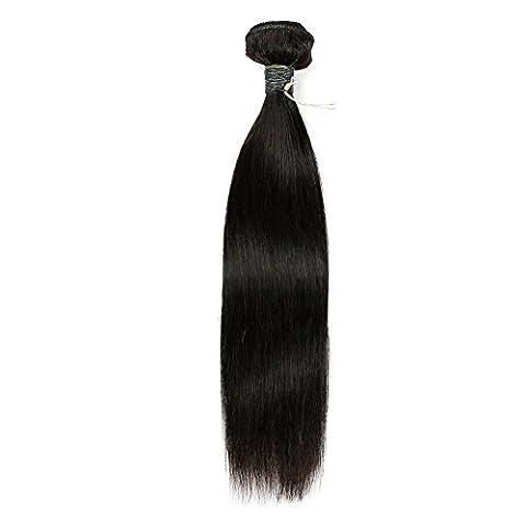 BLISSHAIR brésiliens vierges Cheveux soyeux Bundle de cheveux humains 7 A Tissage brésiliens Cheveux raides Naturel Noir 100 g perruque bresilienne courte