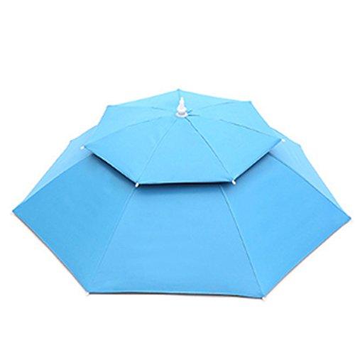 Regenschirm-Hut für Fischen 80cm Durchmesser, Dxlta Doppelschicht-faltender kompakter UVwindschutz-Regenschirm-Hut-Handfreier