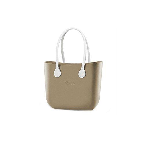 Borsa o bag completa grande sabbia manici eco pelle bianchi