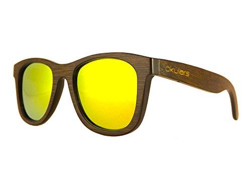 Okulars® Dark Bamboo - Sonnenbrille aus Holz für Damen & Herren, Handgefertigt - eine Größe - Polarisierte und Verspiegelte Gläser - UV400 Schutz - Cat.3 (Gold)
