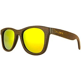 Okulars Dark Bamboo Golden - Occhiali da Sole in Legno di Bambù Naturale Uomo e Donna, Fatti a Mano - Taglia Unica - Lenti Polarizzate a Specchio Giallo/Oro - Protezione UV400 - Cat.3 (Gold)