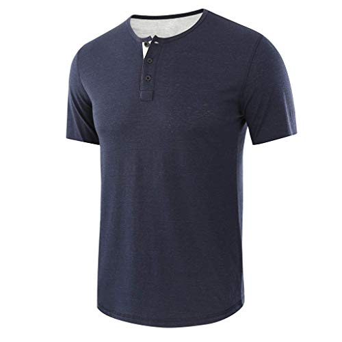BURFLY Sommer Herren Oberteile, Mode Männer Lose Solide Baumwolle Kurzarm Knopf Oansatz T-Shirts Bluse Casual Tops (Ball Dragon Von Z Fitness Shirts)
