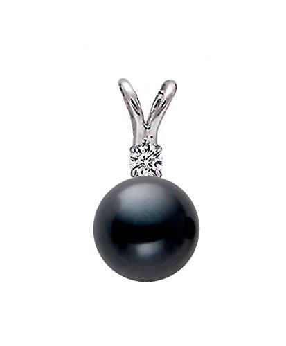14K Or Blanc Noir Perle de culture d'eau douce de qualité AAA diamant pendentif