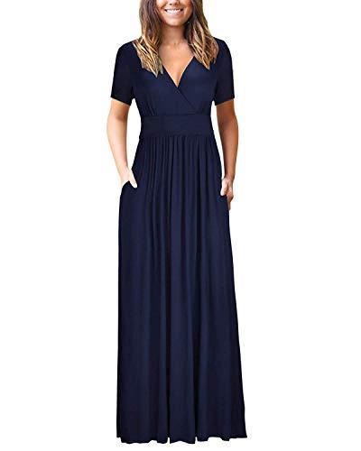 Bequemer Laden Damen Kleider Kurzarm V-Ausschnitt Lose Sommer Casual Lang Maxikleider mit Taschen, Marineblau, XL (Kleider Juniors Arbeit)